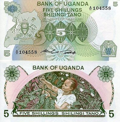 UGANDA 5 Shillings Banknote World Paper Money Currency Pick p15 1982 Bill 5/-