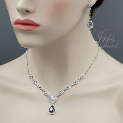 White Gold Plated Amethyst Zirconia CZ Necklace Earrings Wedding Jewelry Set 761