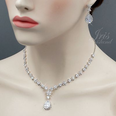 White Gold Plated Clear Cubic Zirconia Necklace Earrings Wedding Jewelry Set 772