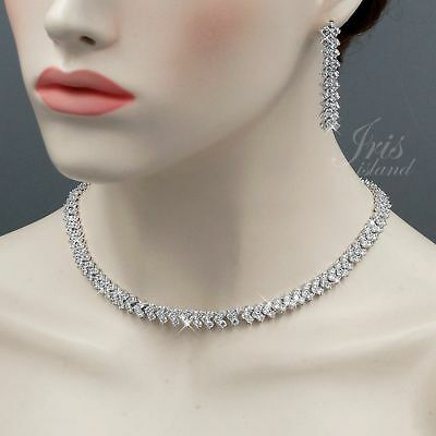 White Gold Plated Clear Cubic Zirconia Necklace Earrings Wedding Jewelry Set 831