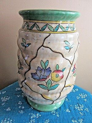 ART DECO VERY LARGE CHARLOTTE RHEAD CROWN DUCAL RIBBED VASE HAND PAINTED c.1930s