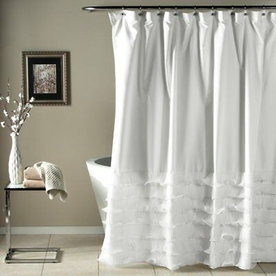 TRIANGLE HOME FASHIONS Lush Decor Gigi Shower Curtain 72 x 72 WHITE ...
