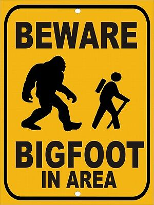 Warning Beware BIG FOOT IN Area Stay On Trail Hiking Funny Metal Tin Sign 9x12