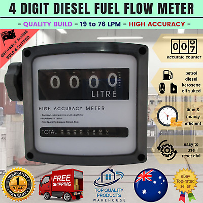 Diesel Gas Fuel Oil Flow Meter 4 Digital Dispenser Counter Gauge High Accuracy