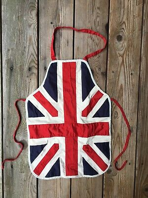 Powell Craft union jack apron kitchen cook chef kids British red