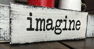 Farmhouse Wood Sign Imagine Rustic Wooden Inspirational Home Wood Sign Small 9