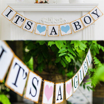 Baby Shower It's a Boy Girl Heart Bunting Party Banner Garland Photo Props Decor
