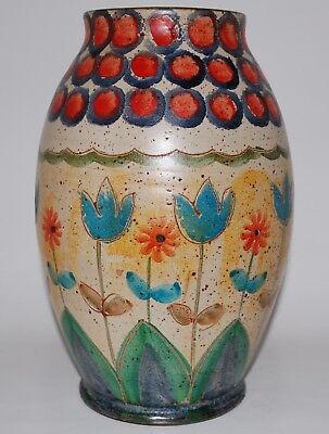 Big Vintage Italy Carved and Hand Painted Art Pottery Vase