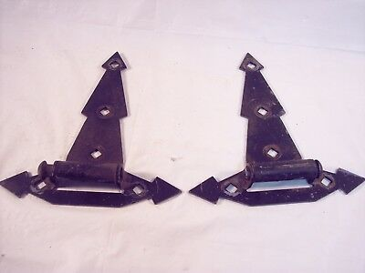 Old/VTG Wrought Iron  Decorative Barn Door or Gate Hinges 8 Inches long NICE!!!