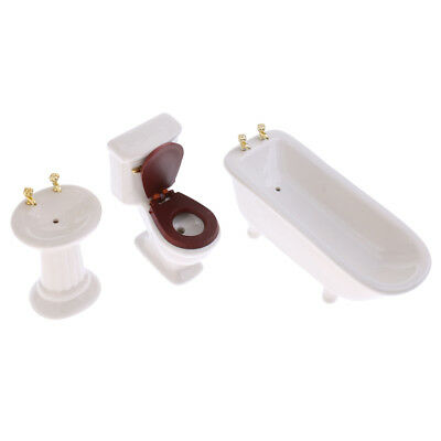 3PCS White Ceramic Bathroom Set Furniture Dollhouse Miniature 1/12 Scale