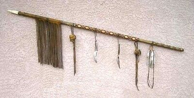 Native American Antiqued Ceremonial Lance/Spear - 70 in.