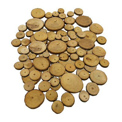 100pc Natural Round Wooden Disc Slices Rustic Wedding Hobbies Deco Craft DIY