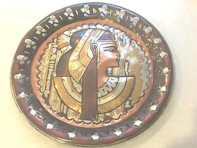 Antique Egyptian Egypt Pharaohs Copper Plaque Pyramid Sphinx Hand Made Beautiful