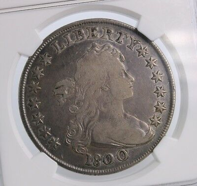1800 Draped Bust $1 NGC Certified F12 Fine Graded Early US Silver Dollar Coin