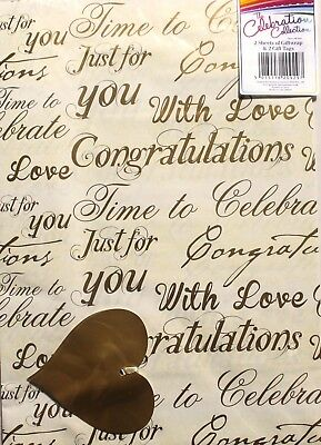 2 sheets of gift wrap & 2 gift tags, congratulations/celebration theme brand new