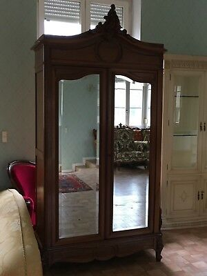French antique vintage Louis XV style rococo mirrored walnut wardrobe,