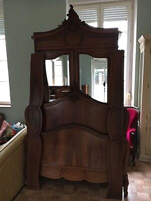 French antique vintage Louis XV style rococo walnut wardrobe and matching bed