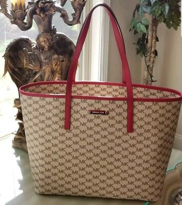 5d2d4fed91ee MICHAEL KORS Emry Large Tote Bag MK Signature Natural Cherry NEW NWT MSRP  $328!