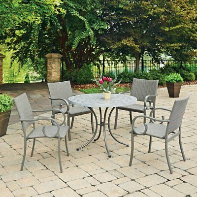 Home Styles Capri Concrete Stenciled 5 Piece Round Outdoor Dining Set, Gray