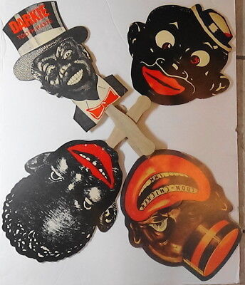 Lot  of 4 Extremely Offensive Vintage Racist Advertising Fans African American