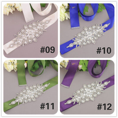 Rhinestone Bridal Sash Crystal Waist Belt Satin Ribbon Wedding Supplies Romantic