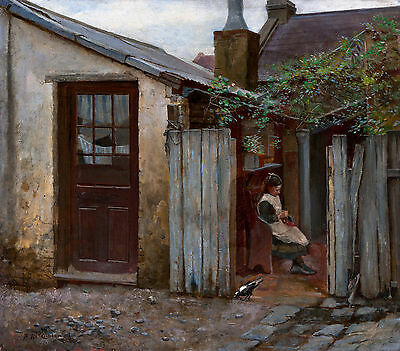 Frederick McCubbin - Girl with bird at the King Street bakery, Art Canvas Print