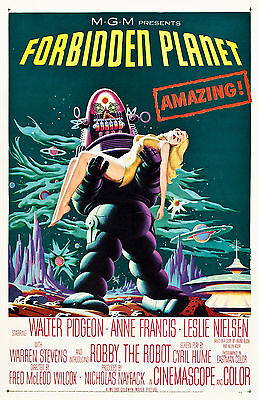 Old Vintage Movie Film Poster, Forbidden Planet - Fade Proof HD Print or Canvas