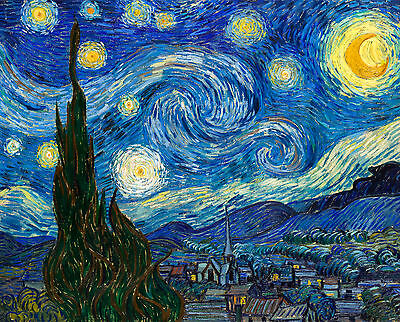 Vincent van Gogh 1889, Starry Night, Stary Night Starey HD Art Print or Canvas