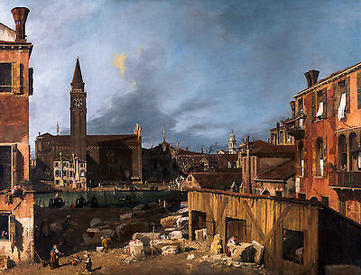 Canaletto - The Stonemason's Yard, 1725, Art Poster, Museum Canvas Print