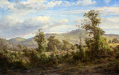 Louis Buvelot - Between Tallarook and Yea 1880, Australian Art, Canvas Print