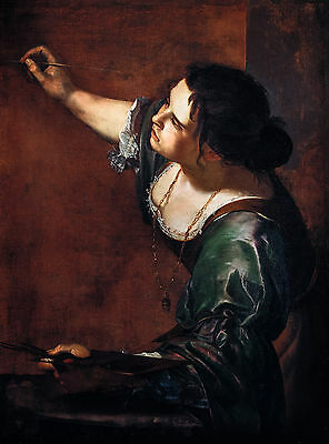Artemisia Gentileschi - Self-portrait as the Allegory of Painting, Canvas Print