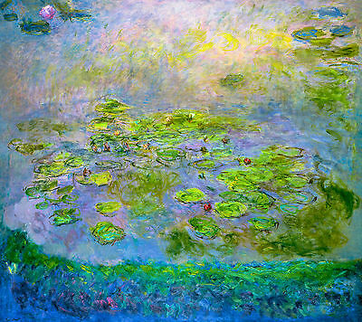 Monet 1914, Nymphéas Water Lily, Lilies, Fade Resistant HD Print or Canvas