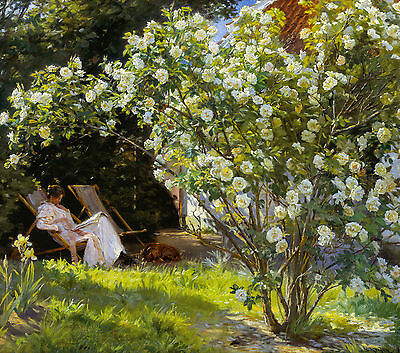 P.S. Krøyer, Roses. Marie Krøyer seated in the deckchair in garden, Canvas Print