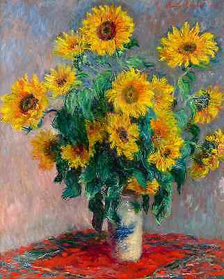 Monet 1881, Bouquet of Sunflowers, Fade Resistant HD Art Print or Canvas