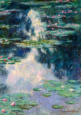 Monet 1907, Pond with Water Lilies, Lily, Fade Resistant HD Print or Canvas