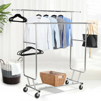 Double Rail Commercial Grade Clothing Garment Rolling Collapsible Rack Hanger