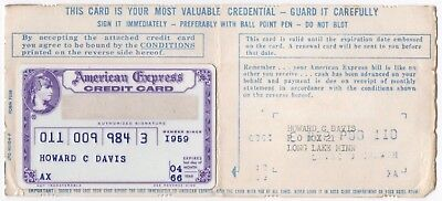 Vintage Rare American Express Purple Credit Card Bank Card Charge Card 1960s