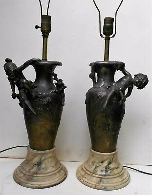 FABULOUS - Matched Pair of Auguste Moreau Signed Art Nouveau Bronze Table Lamps