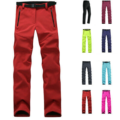 Outdoor Women Windproof Thick Warm Fleece Softshell Pants For Camping Skiing