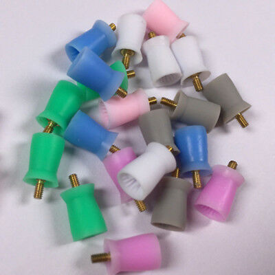 Dental Polishing Cup Silicone Rubber Brush Polisher Grinding Screw Color 100 Pcs
