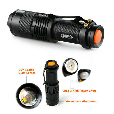 5 Pack Mini Flashlight Cree Q5 LED Torch 5000lm Adjustable Focus Zoomable Ligh