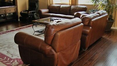 moving sale Italy leather sofa set with recliner chair and a free table