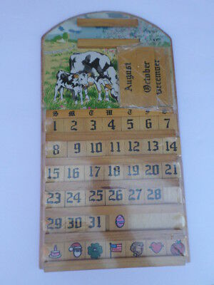 Vintage Wooden Hanging Perpetual Calendar Cow & Calf Brand New! Still Sealed!