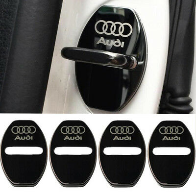4Pcs/Lot Black Stainless Steel Door Lock Decoration Cover Sticker for Audi
