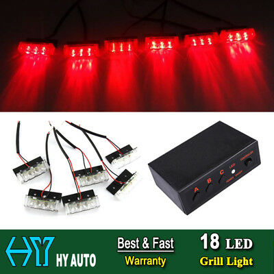 18LED Car Auto Vehicle Warning Emergency Flash Strobe Grille Deck Light Lamp Red