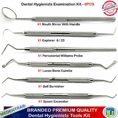 Dental Exam Kit Spoon Excavator Ball Burnisher Lucas Curette Williams Probe 6Pcs