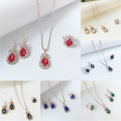 Prom Wedding Party Bridal Jewelry Diamante Crystal Necklace Earrings Rings Sets