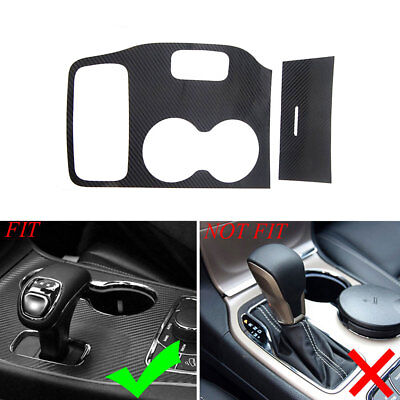 Gear Shift Panel Cup Holder Trim Sticker For Grand Cherokee 2014-15 Carbon Fiber