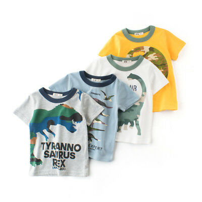 Cotton Shirts Baby Boy Clothes T-shirt Child Toddler Short Sleeve Dinosaur Tops