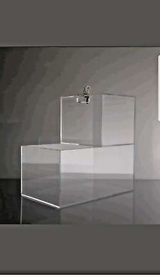 TRUST/HONOR BOX locking acrylic Donation Box w/ candy compartment -8 boxes total
